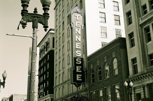 Tennessee Theatre from Gay Street, downtown Knoxville.