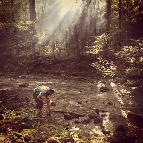 My son, Elijah, and I playing in Flat Fork in the Cumberland Mountains of East Tennessee.